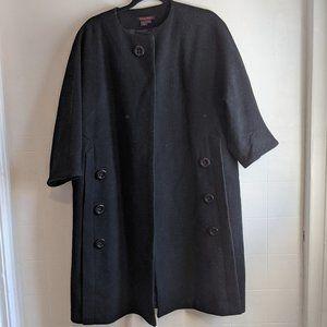 SIMON CHANG Black Vintage Wool Coat Oversized